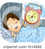 Clipart Of A Brunette Boy Being Woken Up By An Alarm Clock Mascot Royalty Free Vector Illustration by BNP Design Studio