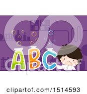 Clipart Of A Boy Scientist With Bubbly Alphabet Letter Test Tubes Royalty Free Vector Illustration