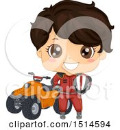 Brunette Racer Boy Standing By A Quad