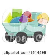 Clipart Of A Construction Worker Boy In A Dump Truck Full Of Shapes Royalty Free Vector Illustration by BNP Design Studio