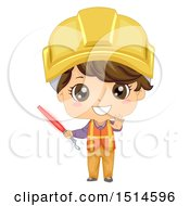 Clipart Of A Construction Worker Boy Holding A Red Baton Royalty Free Vector Illustration by BNP Design Studio