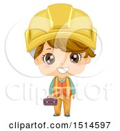 Clipart Of A Construction Worker Boy Holding A Tool Box Royalty Free Vector Illustration by BNP Design Studio