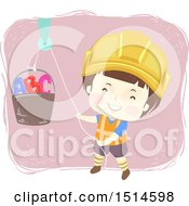 Clipart Of A Construction Worker Boy Using A Pully On A Bucket With Abc Letters Royalty Free Vector Illustration by BNP Design Studio
