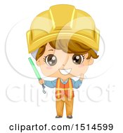 Construction Worker Boy Holding A Baton