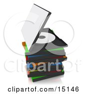 Open Disc Case On Top Of An Unorganized Stack Of Colorful Blank Dvd Or Software Cases Over A Reflective White Background Clipart Graphic Illustration
