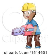 Happy Boy Wearing A Hard Hat And Holding Giant Pliers