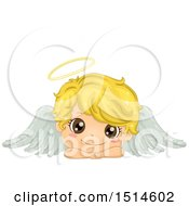 Clipart Of A Cute Blond Angel Boy Resting His Head On His Arms Royalty Free Vector Illustration