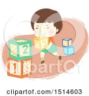 Clipart Of A Happy Boy Stacking Number Blocks Royalty Free Vector Illustration