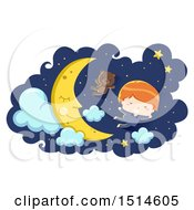 Clipart Of A Boy In Pajamas Flying With A Teddy Bear By A Sleeping Moon Royalty Free Vector Illustration
