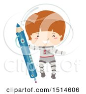 Clipart Of A Happy Astronaut Boy Holding A Pencil Royalty Free Vector Illustration