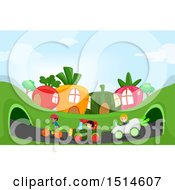 Poster, Art Print Of Group Of Children Racing Vegetable Cars And A Bicycle In A Garden Town