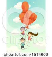 Group Of Children Floating With A Hand Balloon