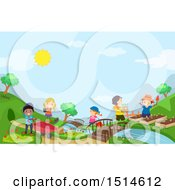 Clipart Of A Group Of Children Gardening Royalty Free Vector Illustration