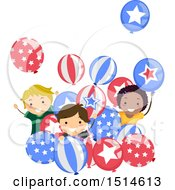 Clipart Of A Group Of Children Celebrating With American Party Balloons Royalty Free Vector Illustration