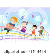 Clipart Of A Colorful Rainbow Music Road With Children Playing Instruments Royalty Free Vector Illustration