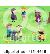 Clipart Of A Group Of Children Picking Up Litter In A Park Royalty Free Vector Illustration