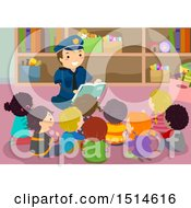 Clipart Of A Police Man Reading A Book To A Group Of School Kids Royalty Free Vector Illustration by BNP Design Studio