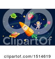 Poster, Art Print Of Group Of Children In Outer Space With Vegetable Planets
