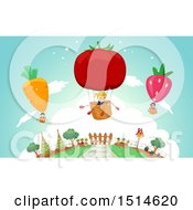 Clipart Of A Group Of Children In Produce Hot Air Balloons Royalty Free Vector Illustration by BNP Design Studio