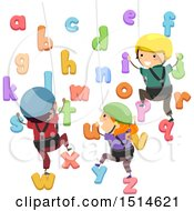Clipart Of A Group Of School Children Climbing An Alphabet Wall Royalty Free Vector Illustration