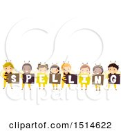 Clipart Of A Group Of Bee Children Holding Signs That Say Spelling Royalty Free Vector Illustration