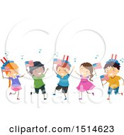 Poster, Art Print Of Group Of Celebrating Children With American Flags
