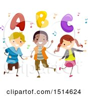 Group Of Children Dancing With Music Notes And Abc Letters