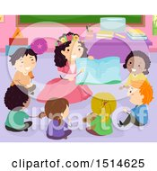 Clipart Of A Group Of Children Sitting Around A Female Teacher Reading In A Fairy Costume Royalty Free Vector Illustration