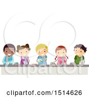 Clipart Of A Line Of Children Washing Hands Royalty Free Vector Illustration by BNP Design Studio