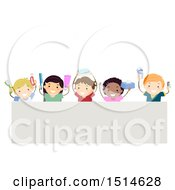 Clipart Of A Group Of Children Holding Up Hygiene Products Over A Sign Royalty Free Vector Illustration