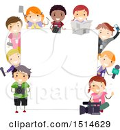 Clipart Of A Group Of Children With Media Items Around A Board Royalty Free Vector Illustration
