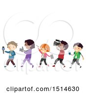 Clipart Of A Line Of Children With Media Items Royalty Free Vector Illustration