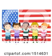 Clipart Of A Group Of Children Saluting In Front Of An American Flag Royalty Free Vector Illustration by BNP Design Studio