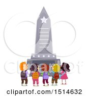 Clipart Of A Group Of Children At A Memorial Monument Royalty Free Vector Illustration