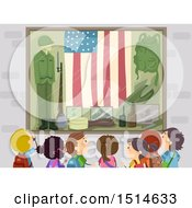 Clipart Of A Group Of Children At A War Memorial Museum Royalty Free Vector Illustration