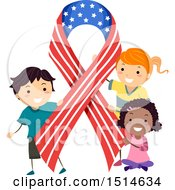 Poster, Art Print Of Group Of Children With An American Ribbon