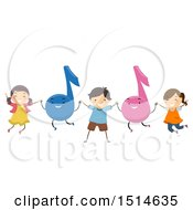Group Of Children Jumping With Music Notes