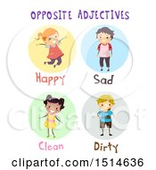 Group Of Children Showing Opposite Adjectives Happy Sad Clean And Dirty