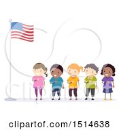 Clipart Of A Line Of Children Pledging Allegiance To The American Flag Royalty Free Vector Illustration