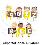 Clipart Of A Group Of Kids In Costumes Spelling Out Quiz Bee Royalty Free Vector Illustration