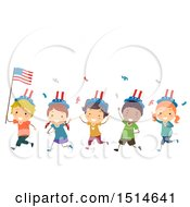 Clipart Of A Group Of Children Celebrating With An American Flag Royalty Free Vector Illustration