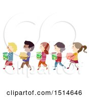 Clipart Of A Line Of Children Carrying Piggy Banks And Money Jars Royalty Free Vector Illustration