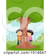 Clipart Of A Boy And Girl Hugging A Tree Royalty Free Vector Illustration by BNP Design Studio