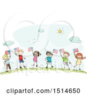 Poster, Art Print Of Sketched Group Of Children Waving American Flags
