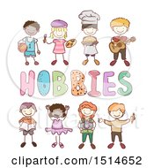 Clipart Of A Sketched Group Of Children Around Hobbies Text Royalty Free Vector Illustration by BNP Design Studio