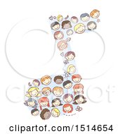 Clipart Of A Sketched Music Note Made Of Faces Of Children Royalty Free Vector Illustration by BNP Design Studio