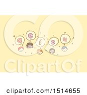 Clipart Of A Sketched Group Of Child Faces With Vowels Royalty Free Vector Illustration