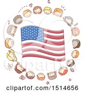 Poster, Art Print Of Sketched Circle Of Child Faces Around An American Flag