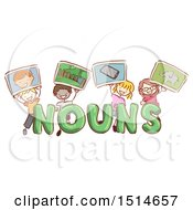 Sketched Group Of Children Holding Up Pictures Of Nouns