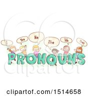 Sketched Group Of Children Saying Pronouns